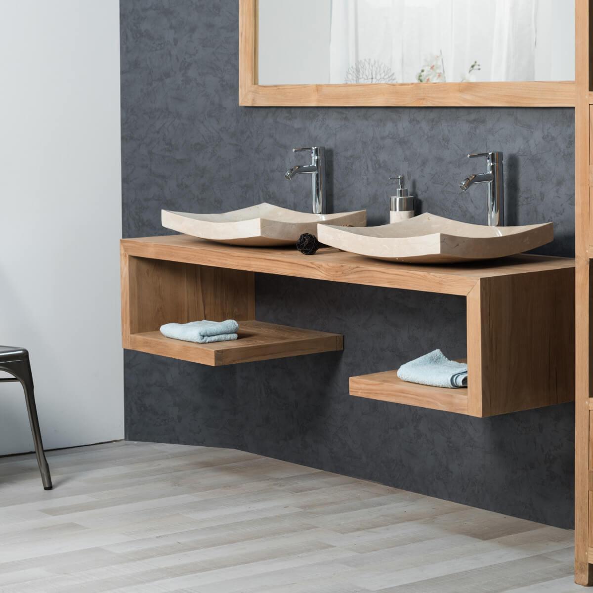 Meuble sous vasque double vasque en bois teck massif - Accessoires salle de bain bois ...