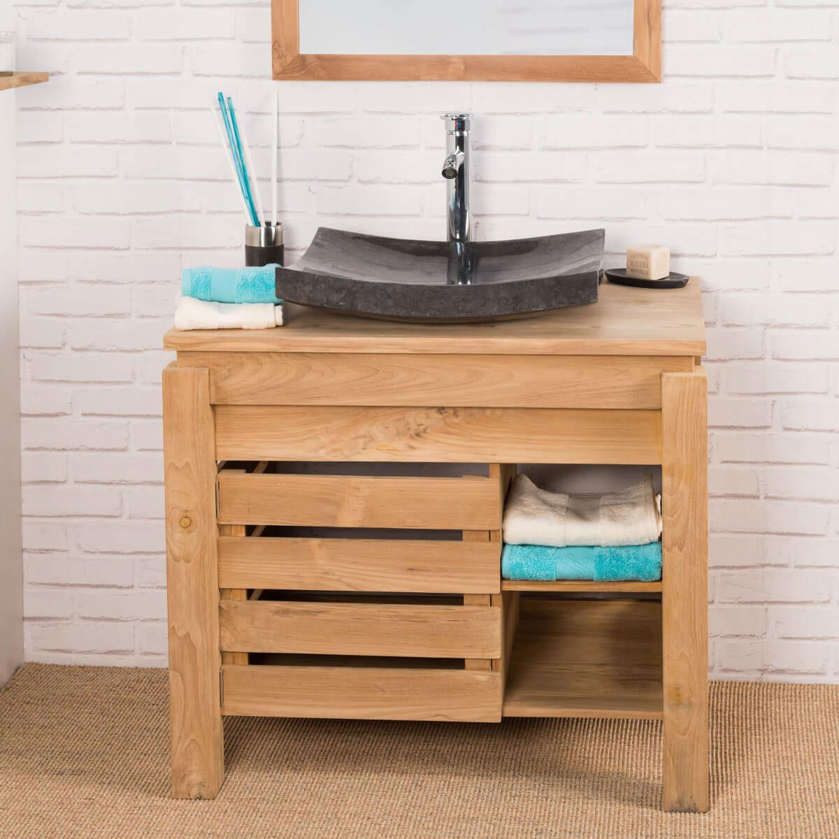 meuble sous vasque simple vasque en bois teck massif zen rectangle naturel l 85 cm. Black Bedroom Furniture Sets. Home Design Ideas