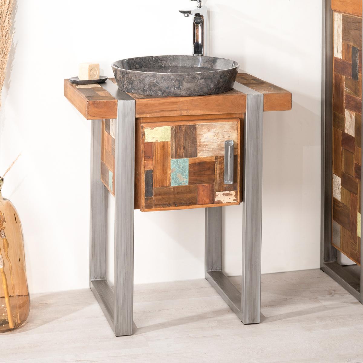 meuble sous vasque simple vasque en bois teck massif acier bross factory rectangle. Black Bedroom Furniture Sets. Home Design Ideas
