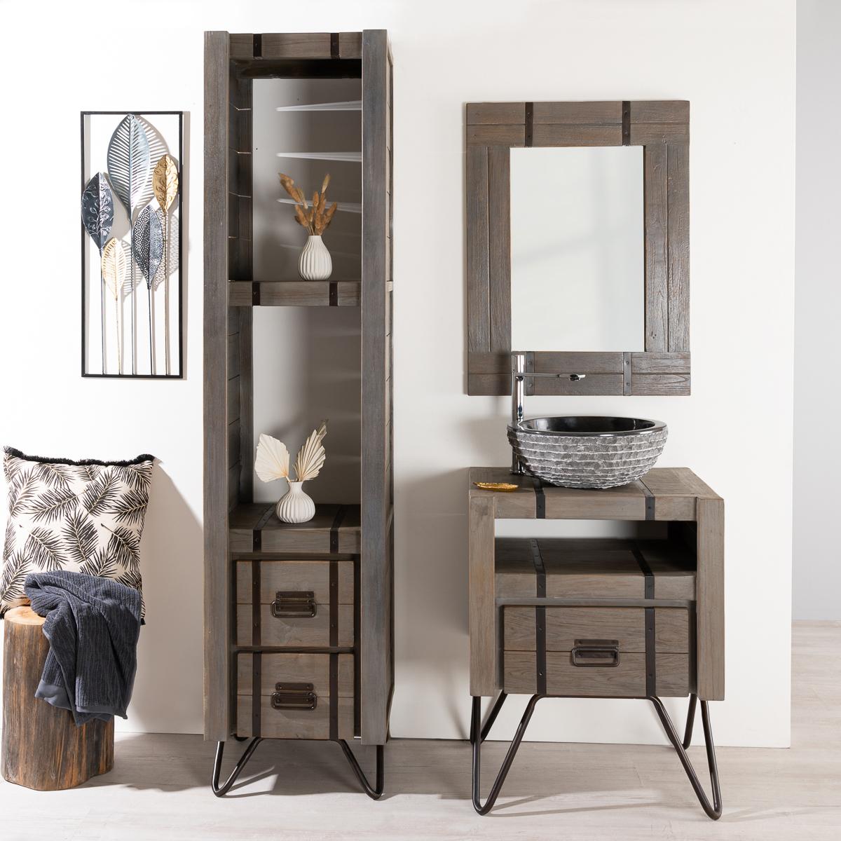 meuble sous vasque simple vasque en bois mindi massif m tal loft rectangulaire gris. Black Bedroom Furniture Sets. Home Design Ideas