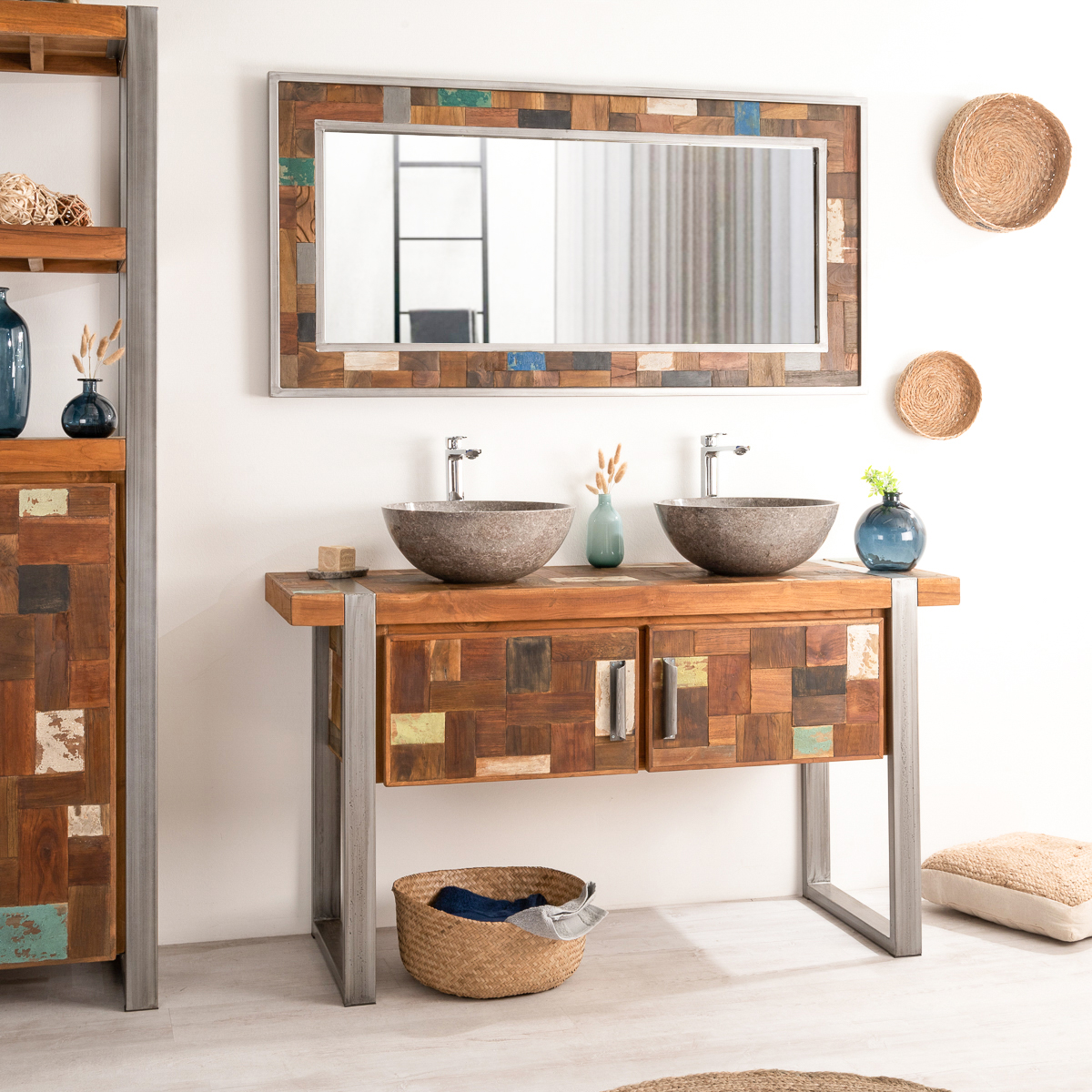 Meuble sous vasque double vasque en bois teck massif et acier bross factory l 140 cm - Bricorama meuble salle de bain ...