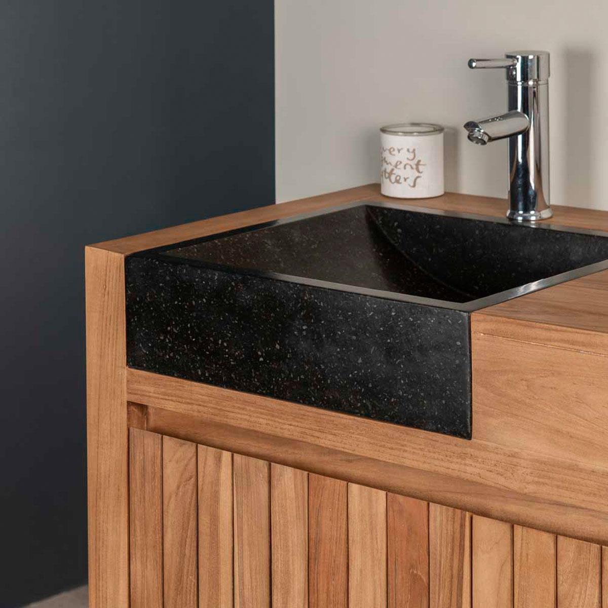 meuble sous vasque double vasque en bois teck massif. Black Bedroom Furniture Sets. Home Design Ideas