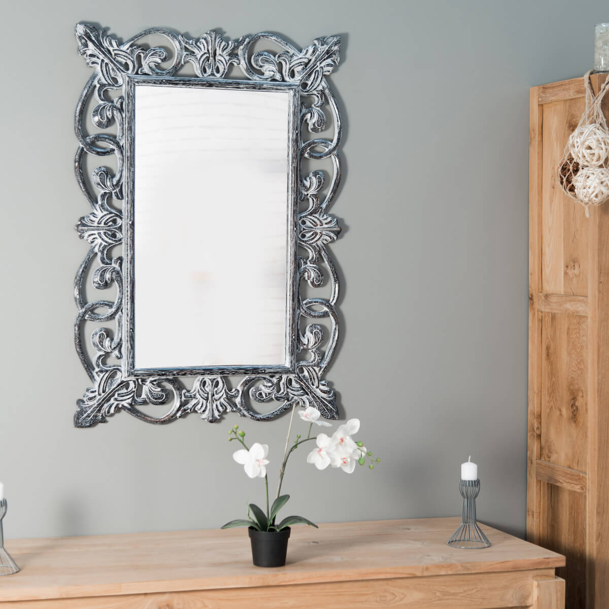miroir de d coration en bois massif cordoue rectangulaire bois patin c rus argent d. Black Bedroom Furniture Sets. Home Design Ideas