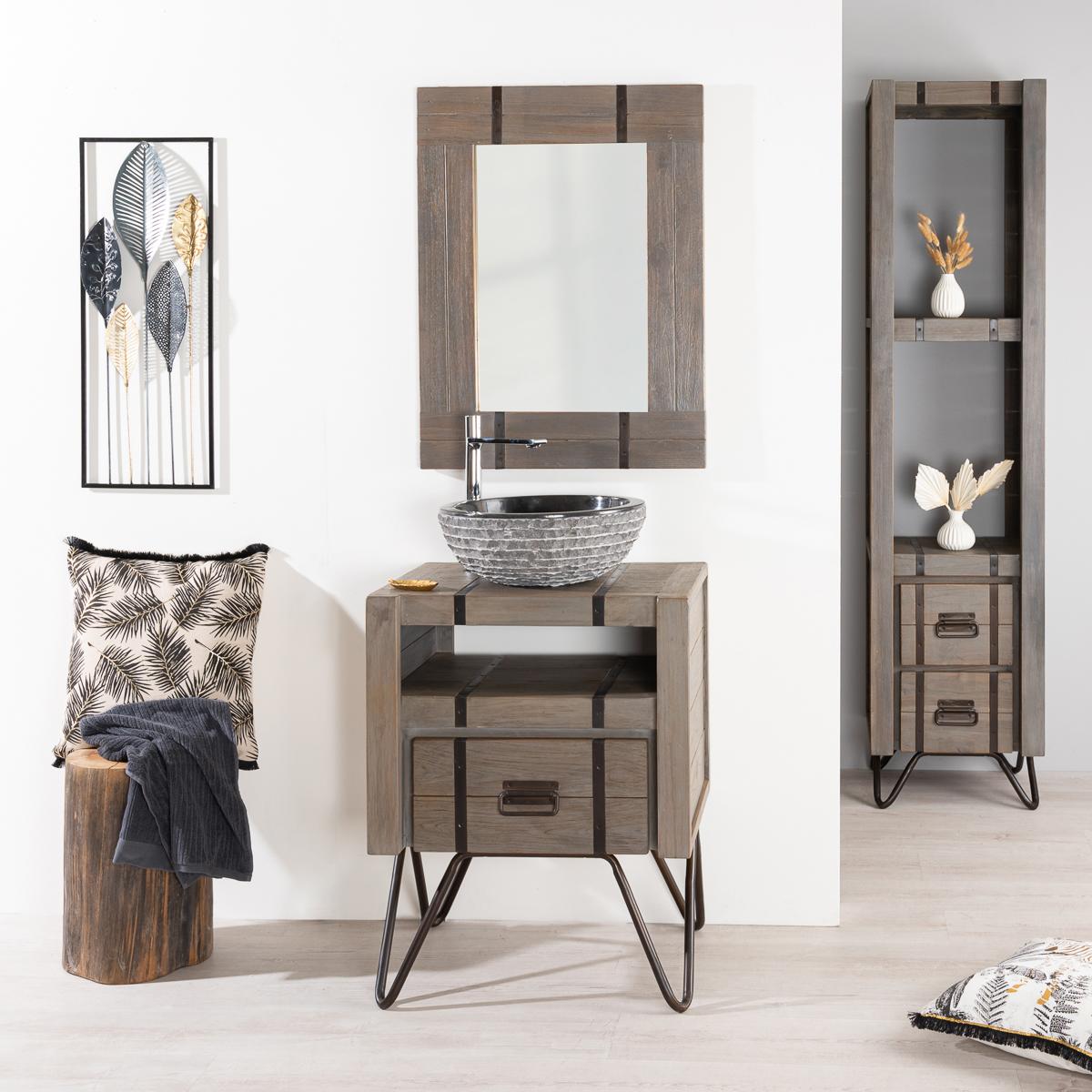miroir de salle de bain loft 60x80 gris. Black Bedroom Furniture Sets. Home Design Ideas