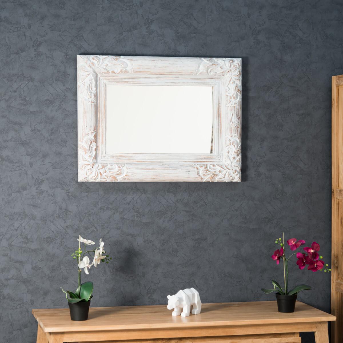 Miroir de d coration en bois massif valence for Miroir bois flotte blanc