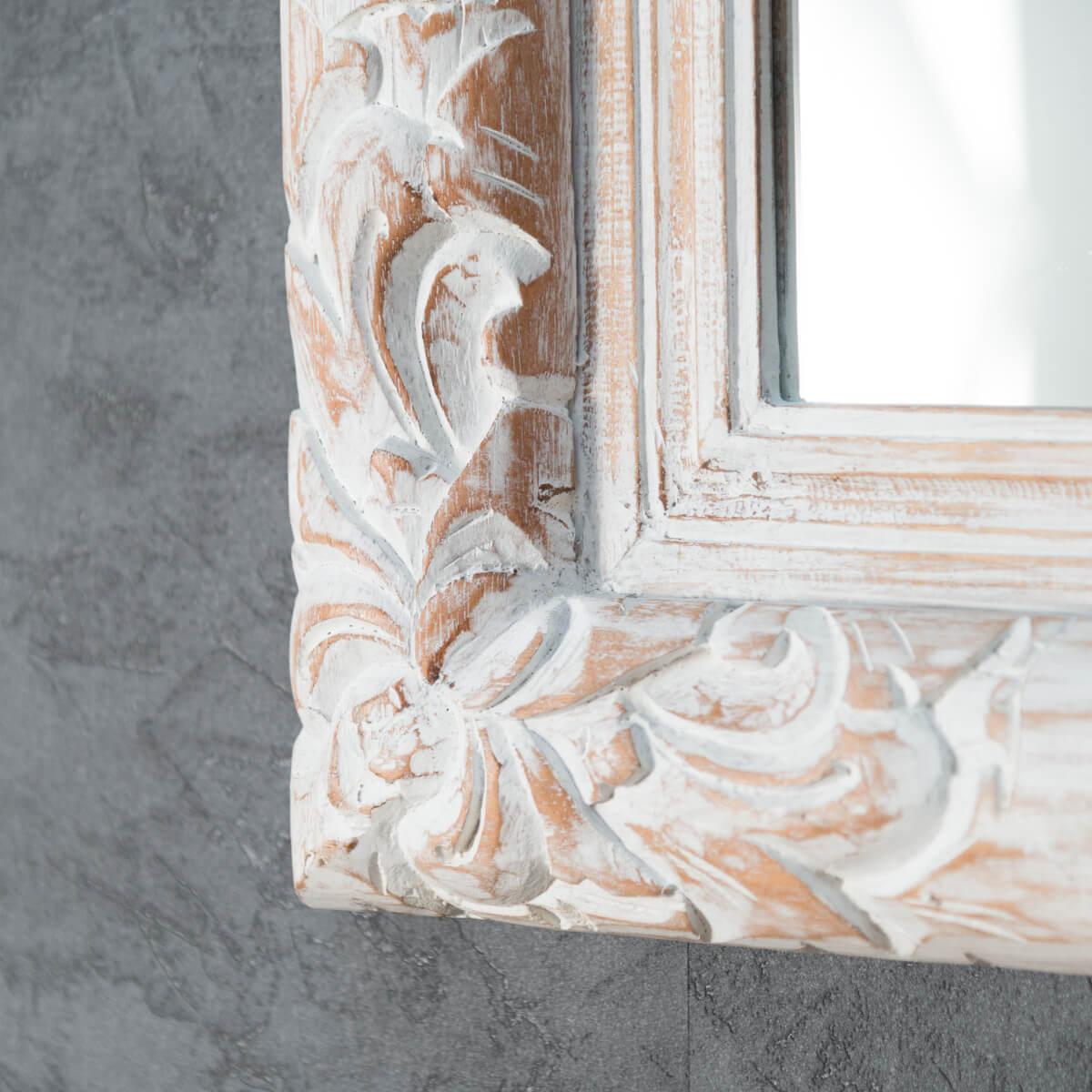 Miroir de d coration en bois massif valence for Miroir en bois flotte blanc