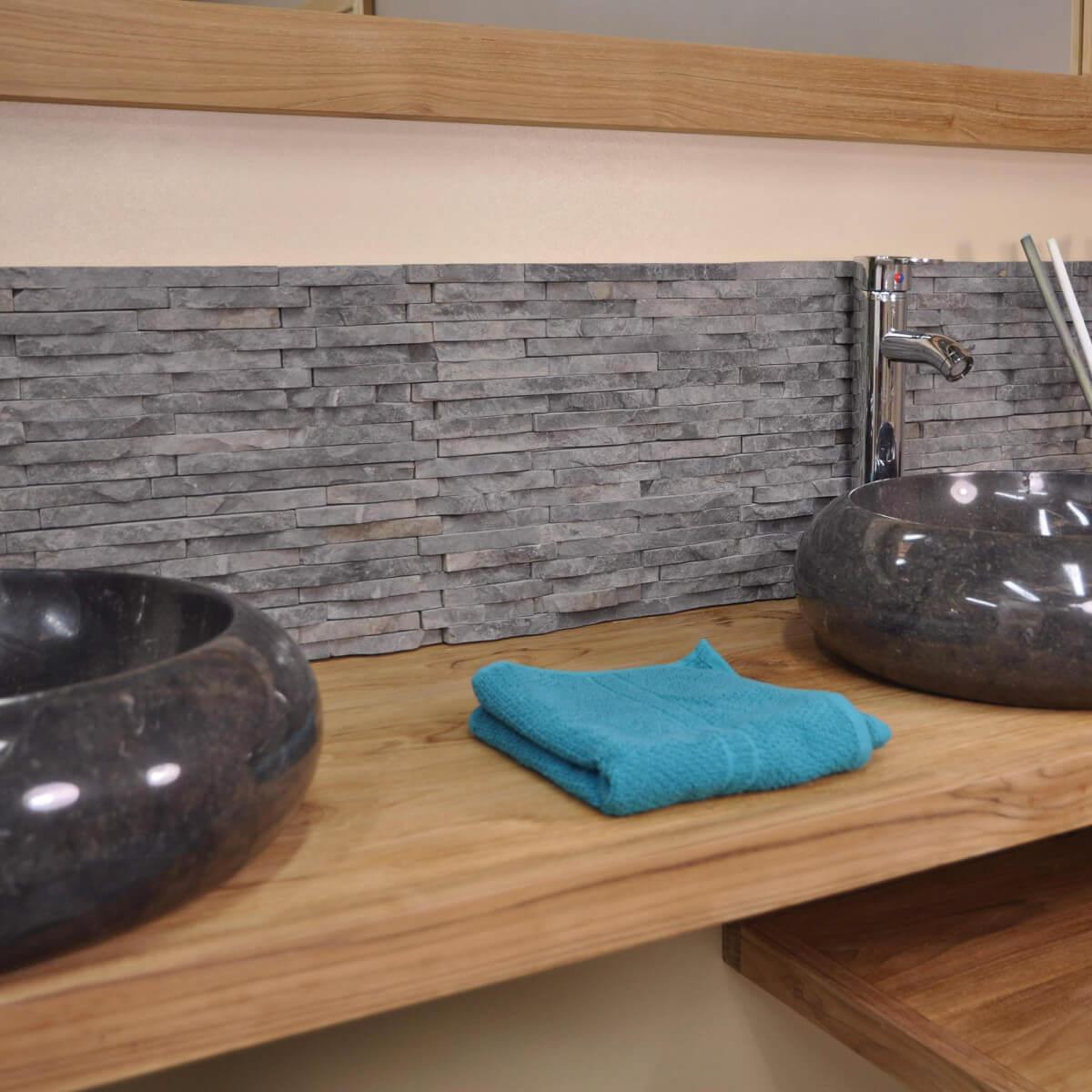 Salon En Marbre : Parement en pierre naturelle marbre brut gris noir