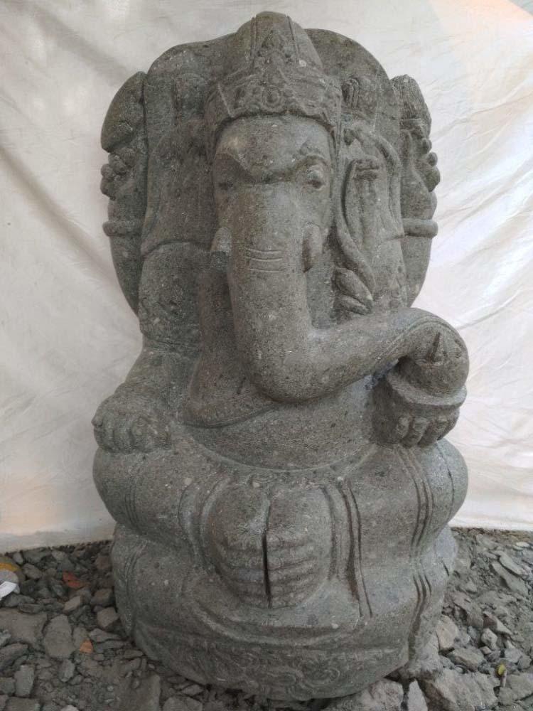 Statue de jardin en pierre volcanique ganesh 90 cm for Statue de jardin en pierre