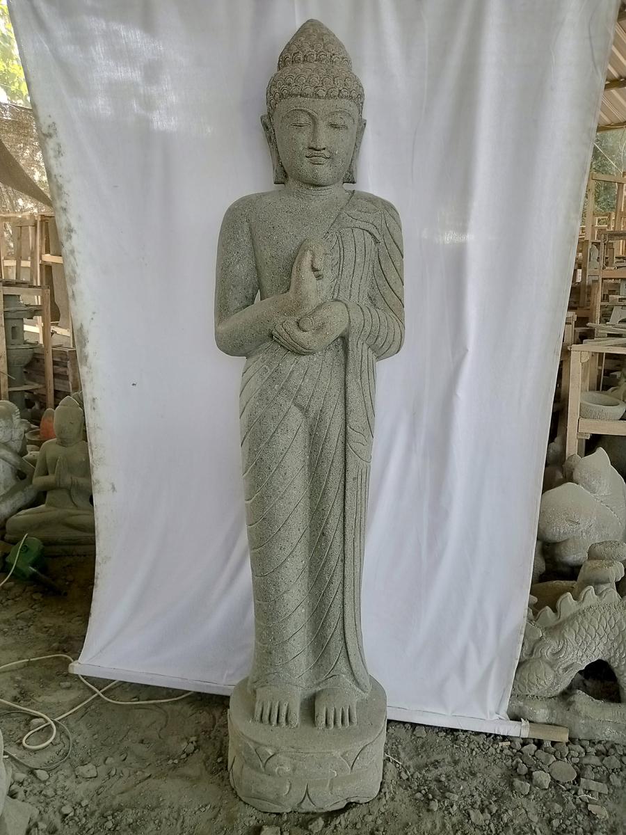 statue de jardin bouddha debout pierre l 33 cm x p. Black Bedroom Furniture Sets. Home Design Ideas