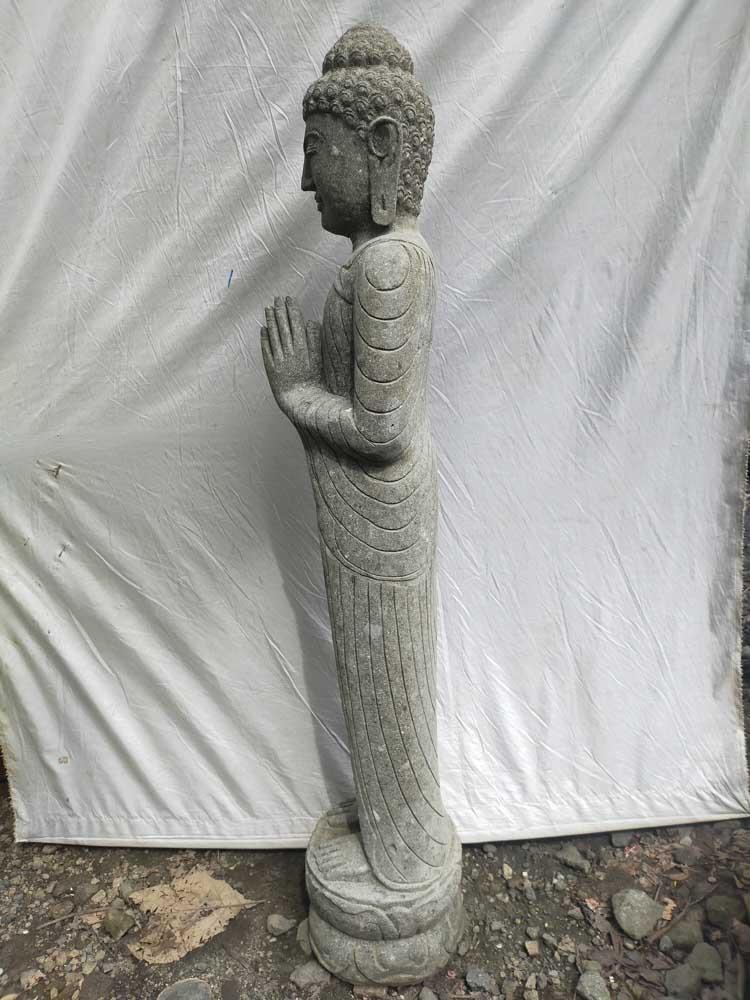 Statue En Pierre Volcanique Bouddha Debout Position Chakra