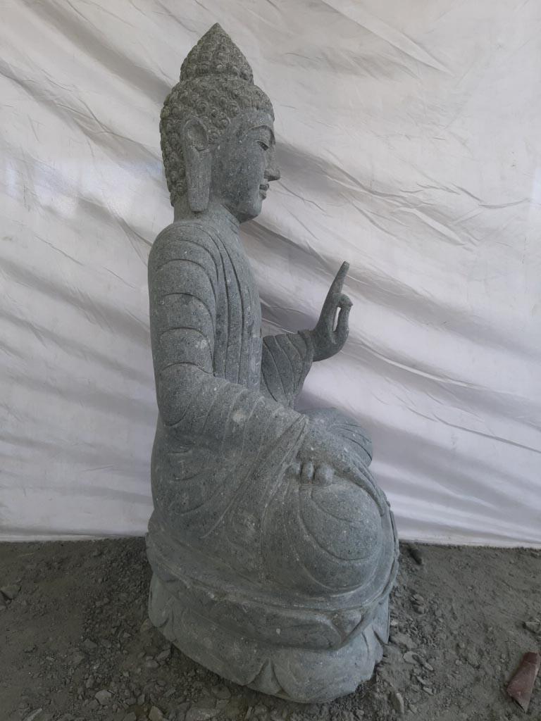neuf statue exterieur bouddha assis pierre volcanique position pri re 1m. Black Bedroom Furniture Sets. Home Design Ideas