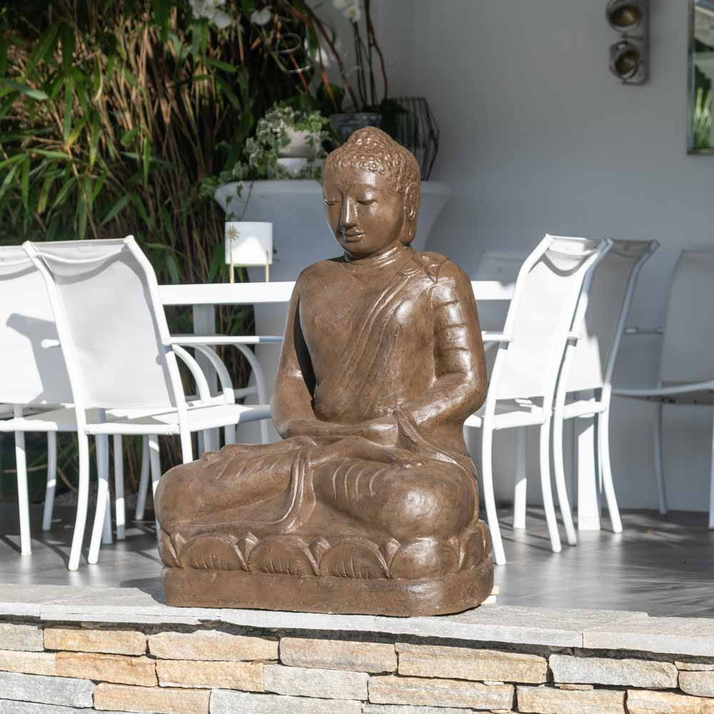 Statue jardin bouddha assis en fibre position offrande 105 cm brun - Statue jardin ...