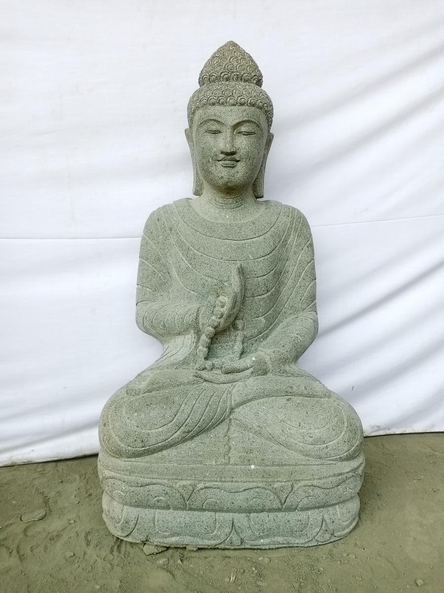 Statue Jardin Zen Bouddha Assis En Pierre Naturelle