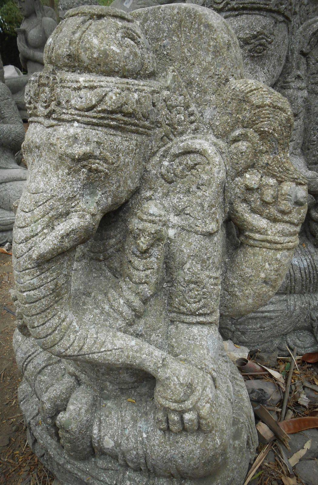 Statue sculpture en pierre naturelle ganesh 63 cm jardin ext rieur - Jardin exterieur ...
