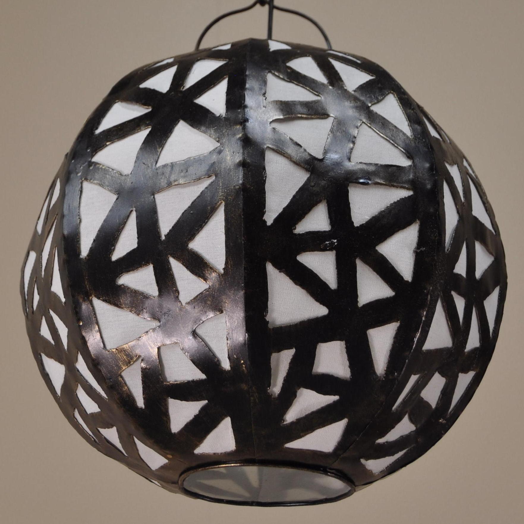 Luminaire lustre suspendu acier rond blanc D 35 cm H 30 cm 1565