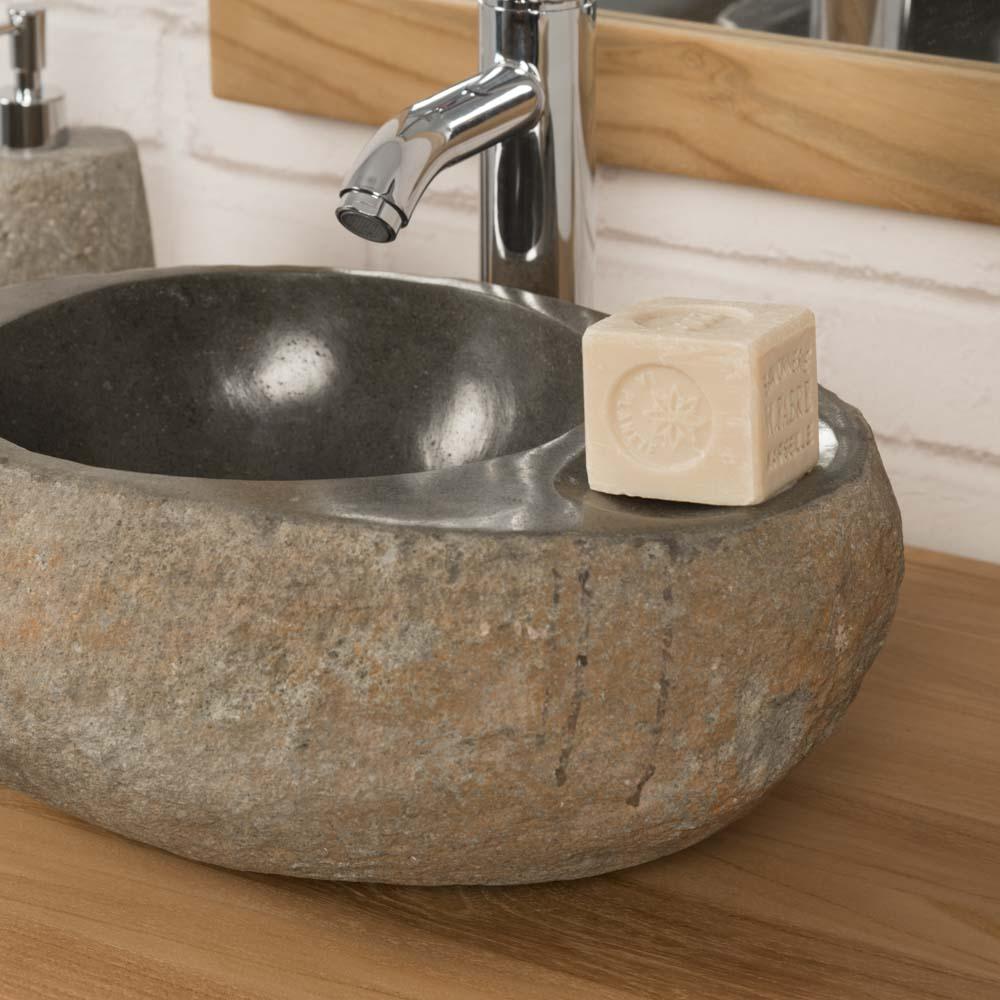 vasque poser en galet de rivi re porte savon naturel l 35 cm. Black Bedroom Furniture Sets. Home Design Ideas