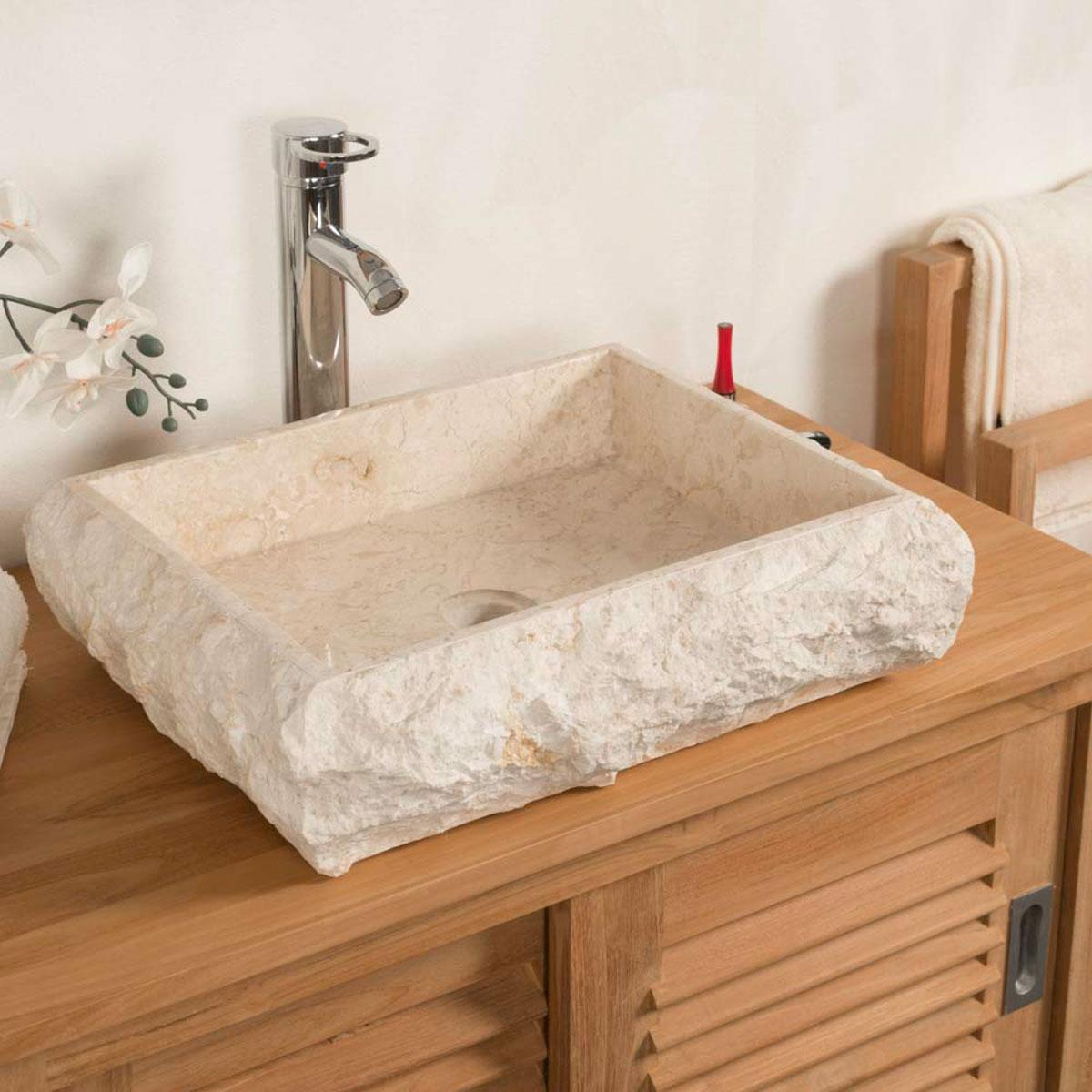 vasque poser en marbre naples rectangle cr me d 50 cm. Black Bedroom Furniture Sets. Home Design Ideas