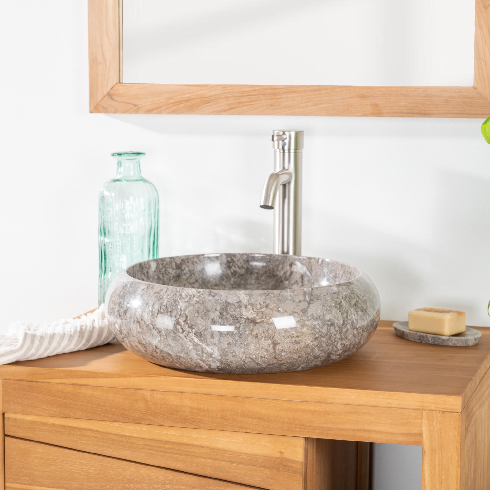 Vasque poser en marbre venise ronde grise taupe d 40 cm - Vasque a poser salle de bain ...