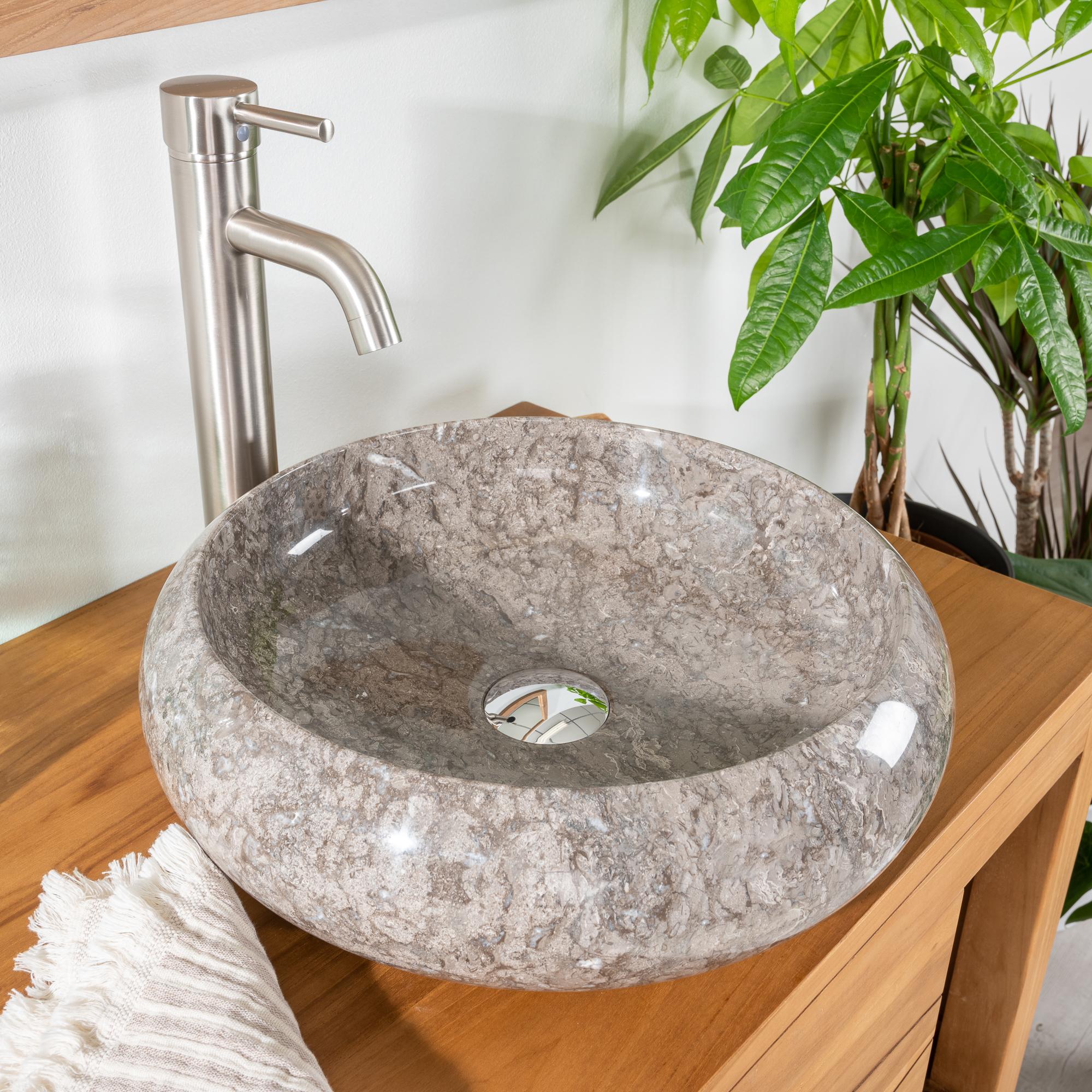 Vasque poser en marbre venise ronde grise taupe d 40 cm - Vasque salle de bain ronde ...