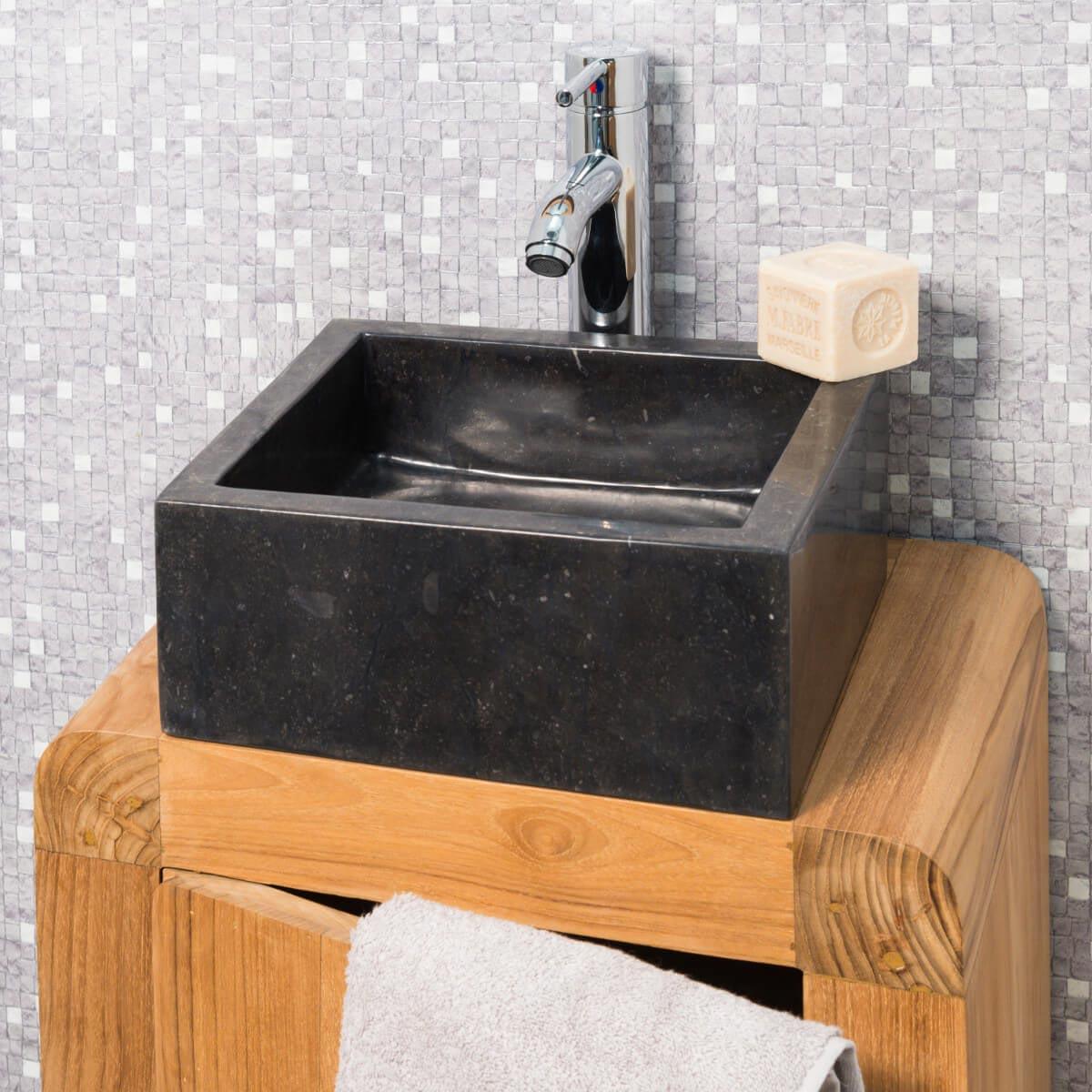 vasque poser en marbre milan ronde noire d 30 cm. Black Bedroom Furniture Sets. Home Design Ideas