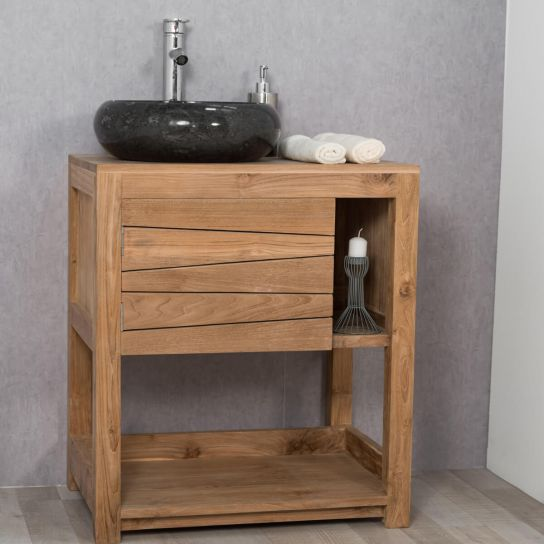 Photo de meuble sous vasque meuble simple vasque for Meuble salle de bain bois massif naturel